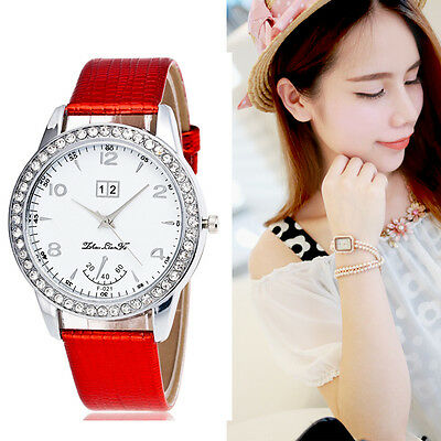 Fashion Women Crystal Watches Analog Leather Stainless Steel Quartz Wrist Watch