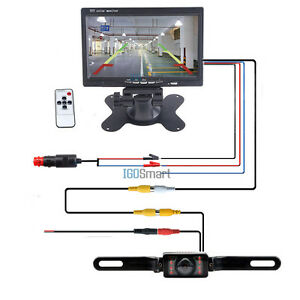 7 tft lcd monitor car rear view back up wire kit power adapter