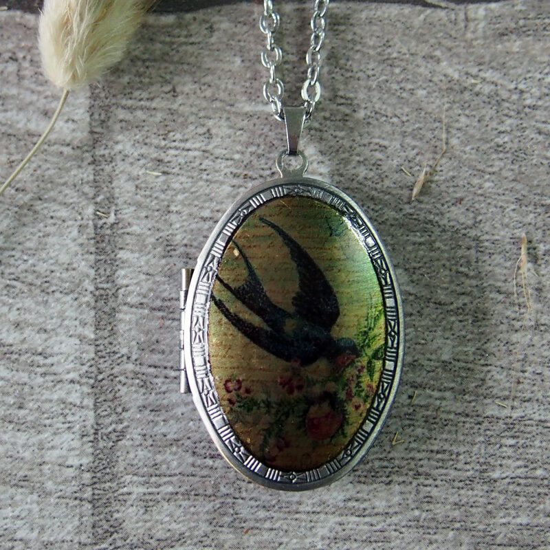 Oxidized Silver Swallow Bird in Spring Picture Locket Pendant Long Necklace