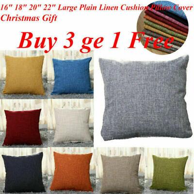 16''x16'' - 22''x22'' Cotton Linen Plain Cushion Pillow Case Cover Sofa Decor UK