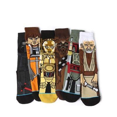 6pairs Fashion Men Cotton Novelty Cartoon Star Wars Warm Crew Skateboard Socks