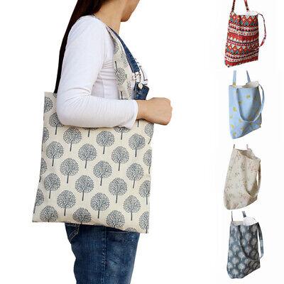 Eco Cotton Linen Handbag Shoulder Bag Shopping Tote Beach Printed (Cotton Handbag Shoulder Bag)