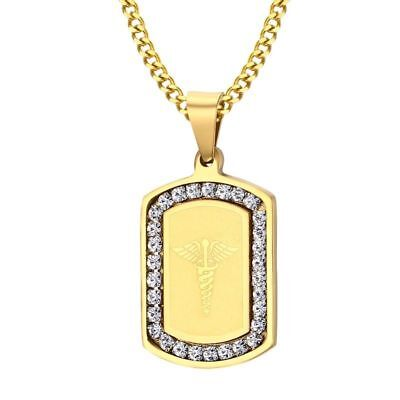 New Gold Plate Tone Medical Alert ID Dog Tag Crystal Men Necklace Free (Medical Jewelry Id Plate)