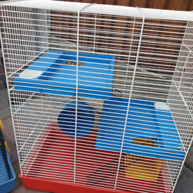 Two floor hamster cage
