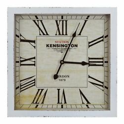 Yosemite Square Skip Movement Wall Clock with Distressed White Frame