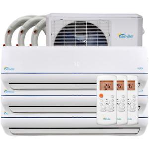 36,000BTU ductless heat pump, tri head - with warranty!