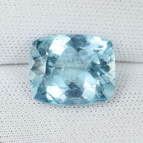 4.32 ct  FINE QUALITY LUSTROUS NICE BLUE NATURAL AQUAMARINE Cushion C  Vdo 1047A