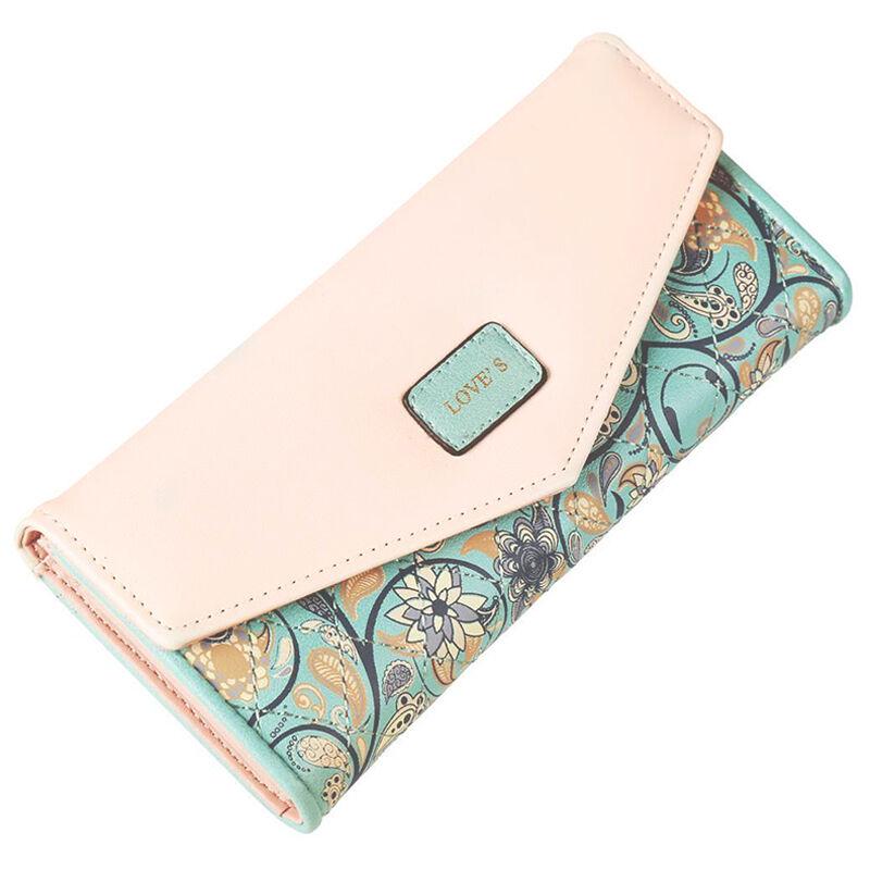 Damen Portemonnaie Geldbörse Geldbeutel Portmonee Blumen Lederbörse Brieftasche Mintgrün