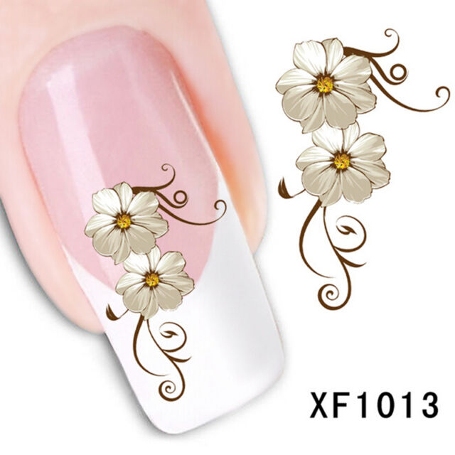 Nail Art Sticker Water Transfer Stickers Flower Decals Tips Decoration AT