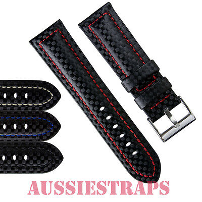 padded carbon fiber leather lined mens watch band strap fibre fits padded carbon fiber leather lined mens watch band strap fibre fits seiko amp