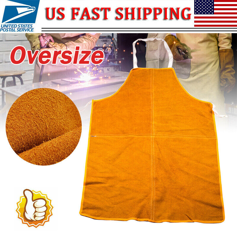 Large Cowhide Leather Welding Apron Welder Protective Clothing Mechanic Gear US