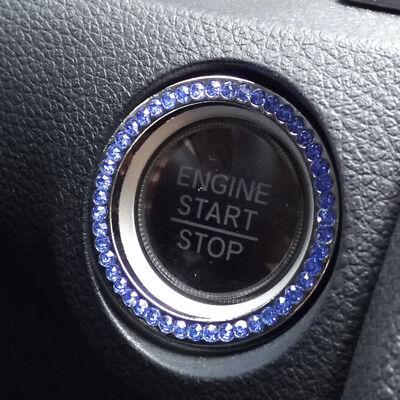 1x Car Bling Decorative Accessories Blue Start Switch Button Decor Diamond Ring - Blue Accessories