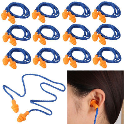 10 Set Reusable Hearing Protection Earplugs Corded Safety Soft Silicone Ear Plug