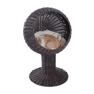 """Dark Brown 20.5"""" Kitty Rattan Wicker Bed with Soft Pillow"""