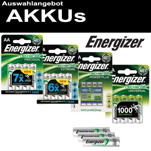 ENERGIZER AKKU NiMH AA R6 Mignon AAA Micro C Baby R14 D Mono R20 9V-Block