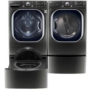 "LG WM4370HKA Front Load 5.2 cu. ft. Ultra Large Capacity TurboWash Washer And DLEX4370K 27"" Electric Dryer Pair Sale"