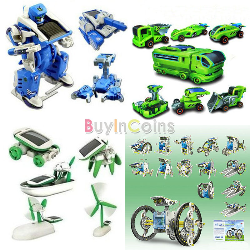 Hot 3/6/7/14 In 1 Educational Assembly Rechargeable Toy Car Robot Tank Kit RSUS