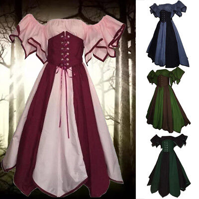 Ladies Medieval Gown Renaissance Princess Party Dress Gothic Cosplay Costume HOT](Medieval Costumes Ladies)