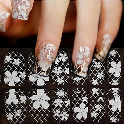 3D White Lace Flower Nail Art  Manicure Tips Sticker Decal Wraps DIY Decoration