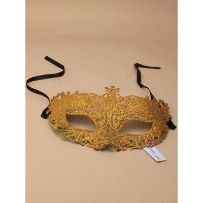 Oro Glitter Filigrana Maschera con Lacci, Ballo, Party, Halloween, Divertente