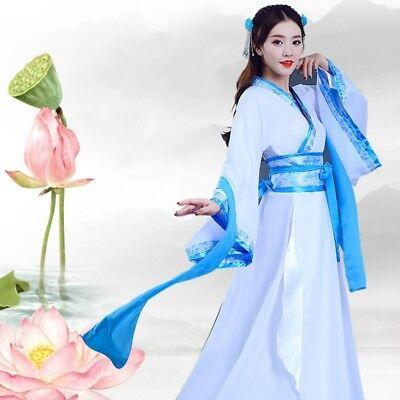 Chinese Lady Costume (Lady Hanfu Suit Ruqun Chinese Tang Dynasty Costume Folk Dance Dress)