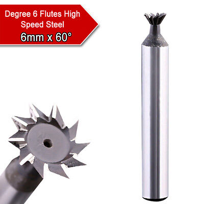 6mm X 60 Degree 6 Flutes High Speed Steel Dovetail Cutter End Mill Bit Router