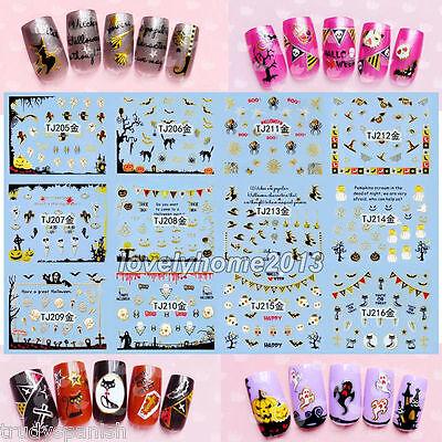 Halloween Adhesivos Pegatinas Para Uñas Plateado Dorado Tela de araña Calabaza - Calabaza Para Halloween