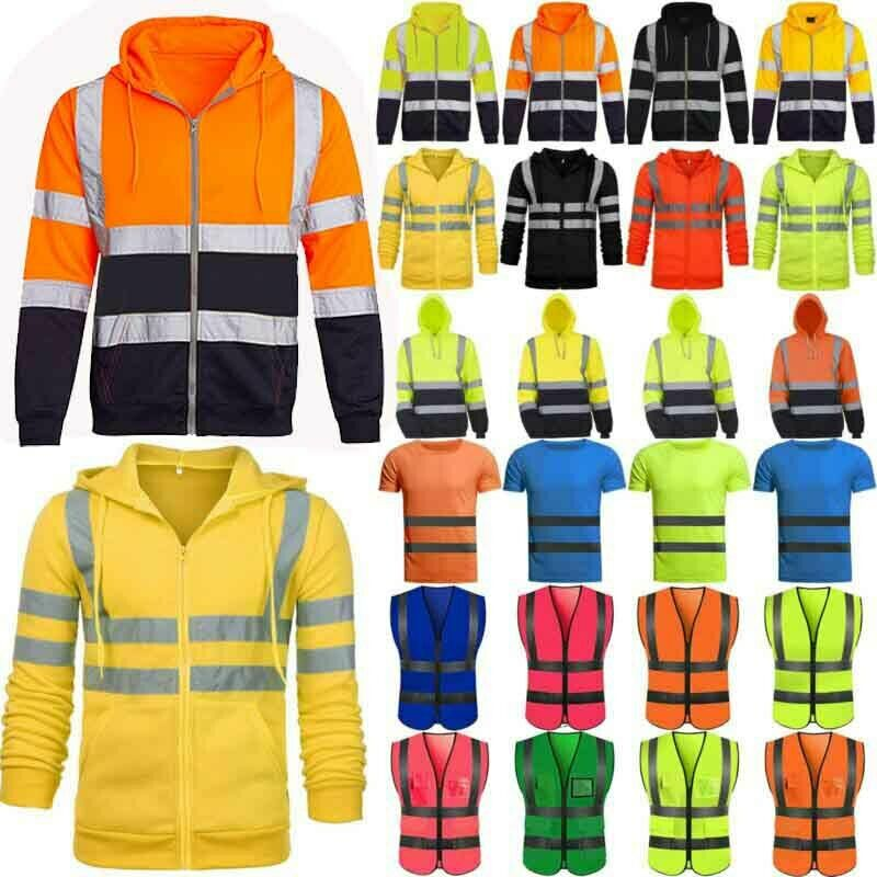 Men High Visibility Hoodies Jacket Coat Safety Reflective Wo