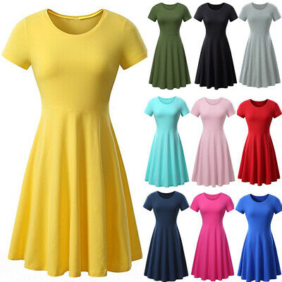 US Women Jersey Summer Short Sleeve High Waist Casual Party T-shirt Skater Dress Jersey T-shirt Dress