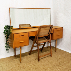 Vintage mid century Oak Stag Concord dressing table with mirror chair