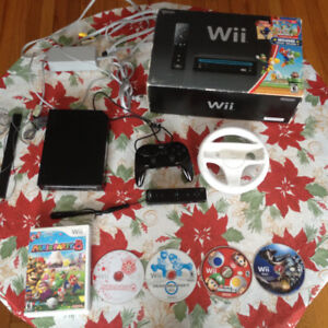 Wii Console + 4 Games