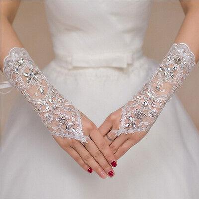 Short White Gloves (Bride White Gloves Beads Embroidery Beaded Short Wedding Dress Bridal Gloves)