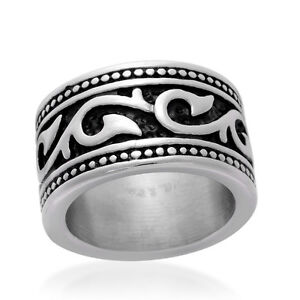Stainless Steel  Unisex Black - Silver Ring-Band Size 6, 8
