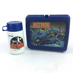 Vintage 90s Batman Lunch Box & Matching Thermos Animated 1991