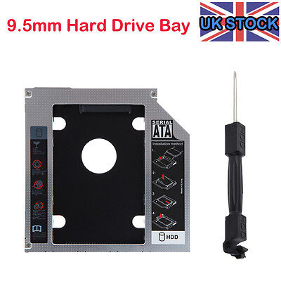 UK NEW SATA 2nd HDD SSD caddy adapter for Laptops 9.5mm Optical Hard Drive Bay