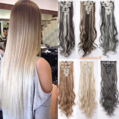 Natural New Hair Clip in Hair Extensions 8 Pieces Full Head Long As Human #ZY