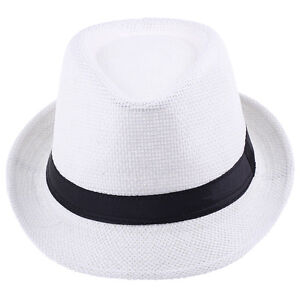Fashion Fedora Panama Trilby Natural Summer Beach Sun Straw Hat Cap Unisex  Men