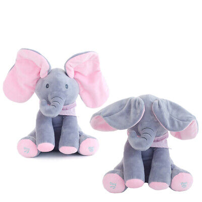 Playpen Baby® Peek-A-Boo Animated Singing Plush Elephant Baby Toy, Gray/Pink