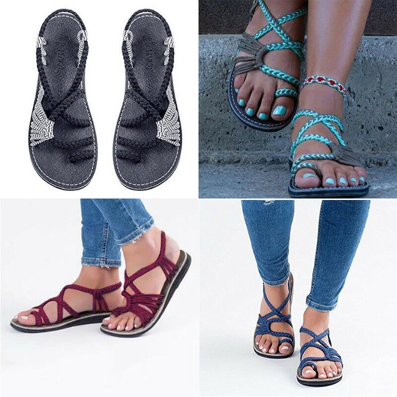 a3140add80 Details about Bohemian Flat Flip Flops Sandals Summer Womens Bandages Casual  Beach Shoes Size