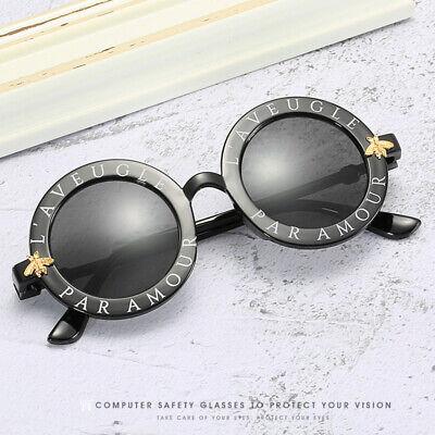 Cute Kids Little Bee Sunglasses Children Glasses Round Frame Letter Shades (Little Kids Glasses)