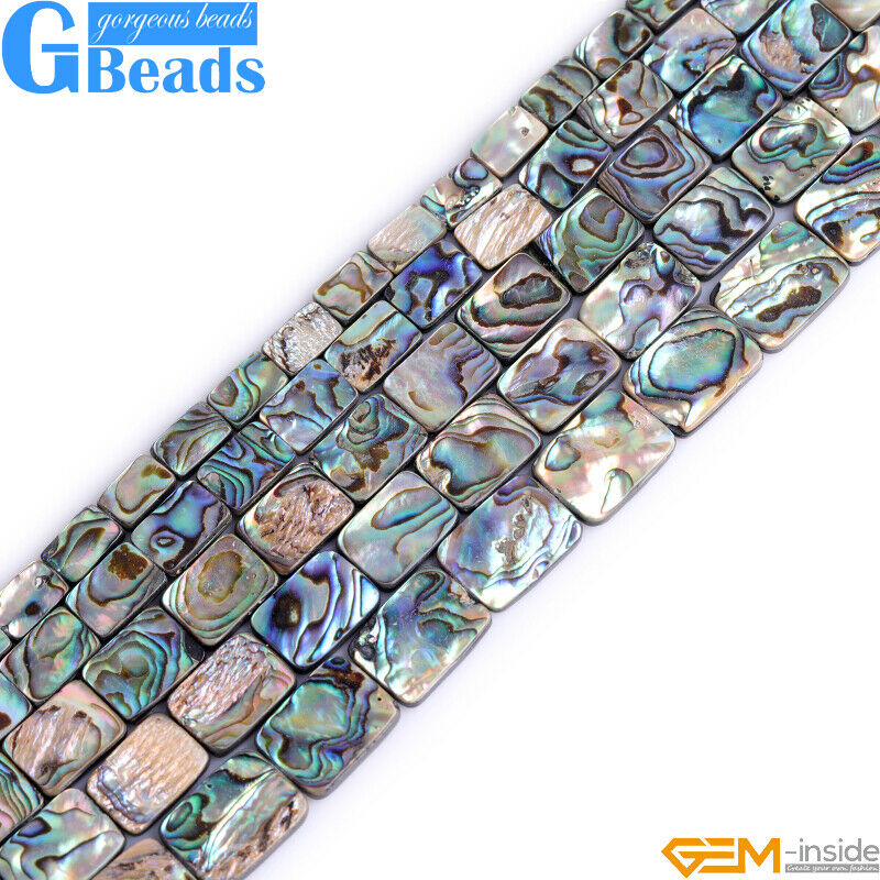 "Natural Flat Rectangle Abalone Shell Jewelry Making Beads 15"" Free Shipping GB"