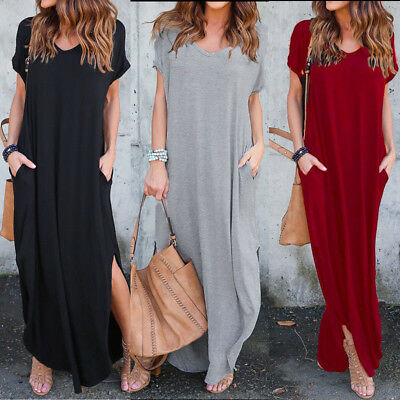 Us Stock Womens T Shirt Long Maxi Dress Split Party Shirt Dress Summer Oversized