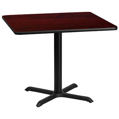 36 Square Mahogany Laminate Table Top With 30 X 30 Table Height Base