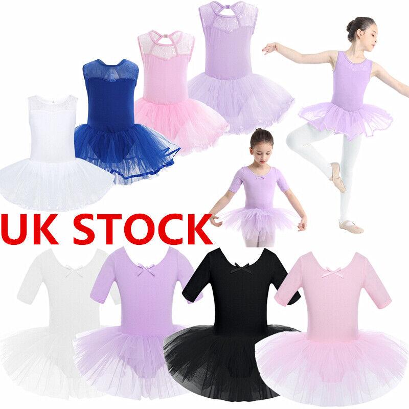 UK Girls Lyrical Ballet Dance Dress Gymnastics Leotard Long Maxi Skirt Dancewear