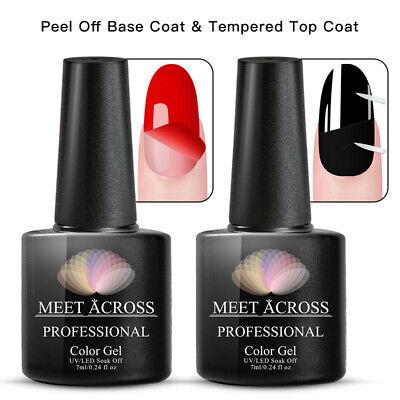 MEET ACROSS Nail Gel Top Coat + Base Coat Foundation For UV Gel Polish Best