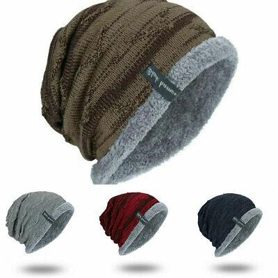 Striped Beanie Knit Warm Slouchy Ribbed Men's Cap Soft Work Toboggan Winter Hat