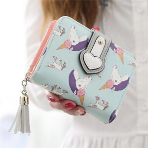Fashion Women Tassel Unicorn Wallet Girls Cute Clutch Short Purse Card Holder US