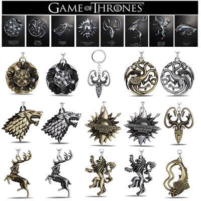 USA! Game of thrones Targaryen House Stark Lannister Keychains Key Ring Keyfob - Gaming Keychains