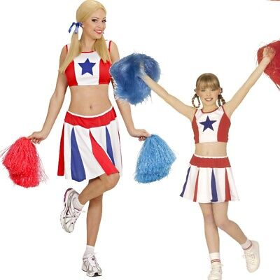 Damen Kinder Cheerleader Sport Kostüm Top + Rock USA Gr. 128 cm bis Gr. 44 - Cheer Leader Kostüm