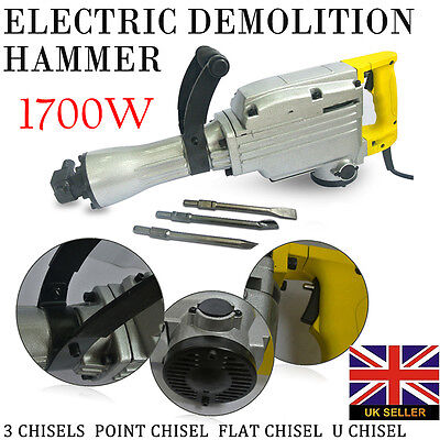 Heavy Duty 1700W Electric Demolition Jack Hammer Drill Concrete Breaker 3 Chisel